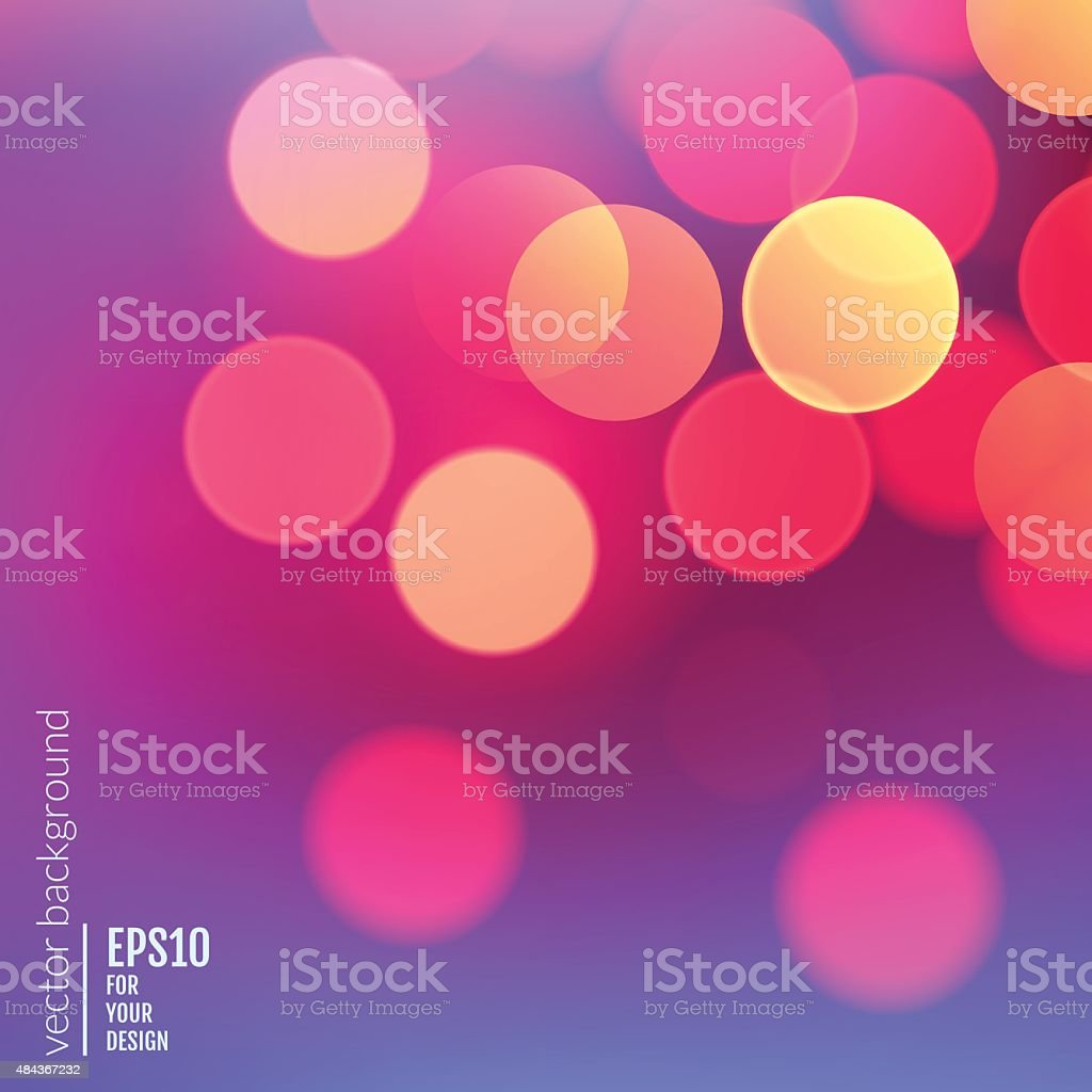 Vector realistic abstract background with blurred defocused bokeh lights vector art illustration