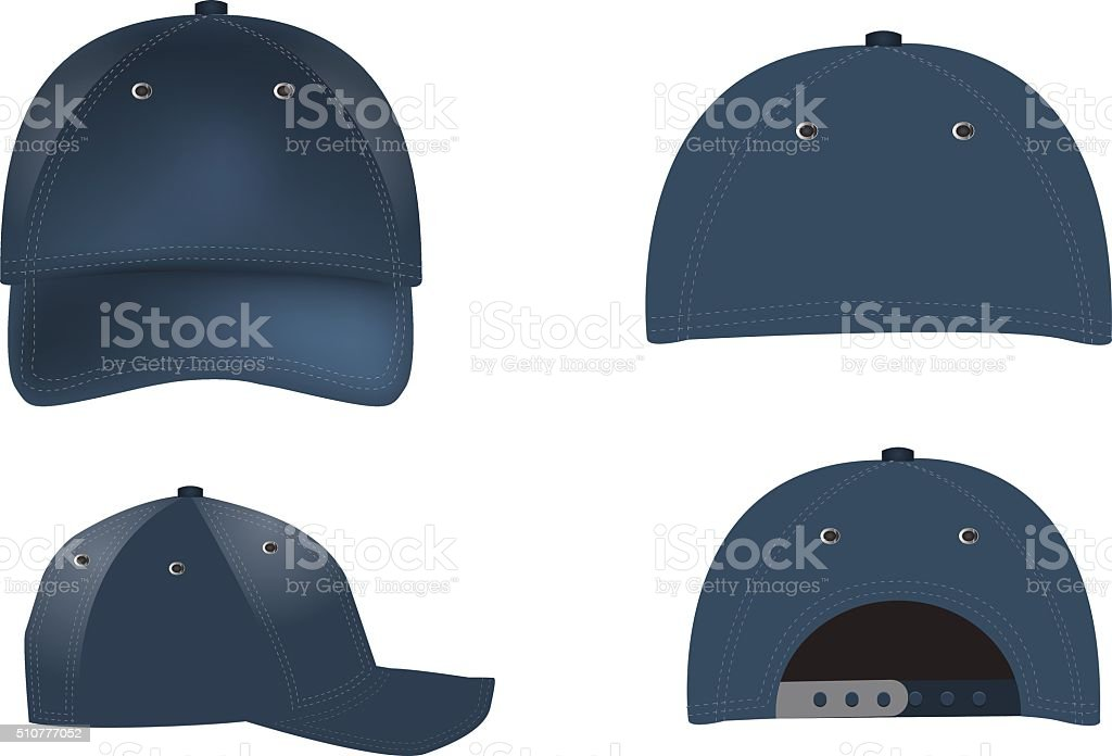 Vector realistic Baseball Caps - front, back and side views vector art illustration