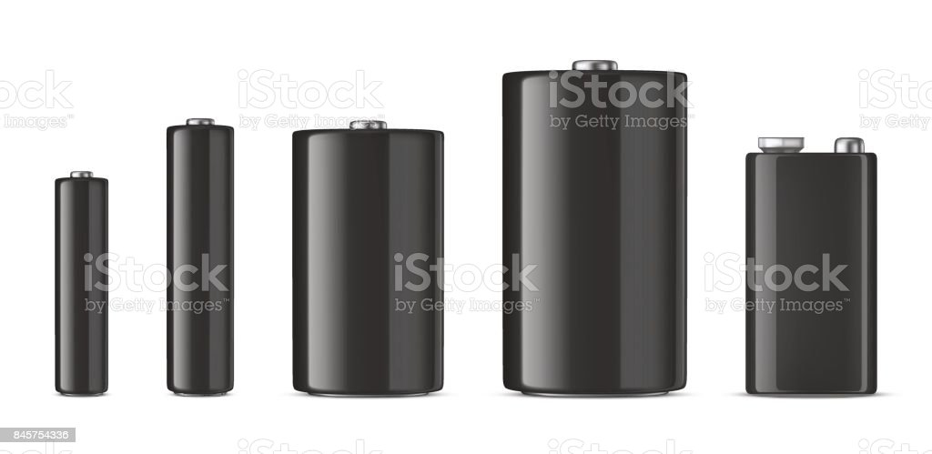 Vector realistic black alkaline batteriy icon set. Diffrent size - AAA, AA, C, D, PP3. Design template for branding, mockup. Closeup isolated on white background. Stock vector vector art illustration