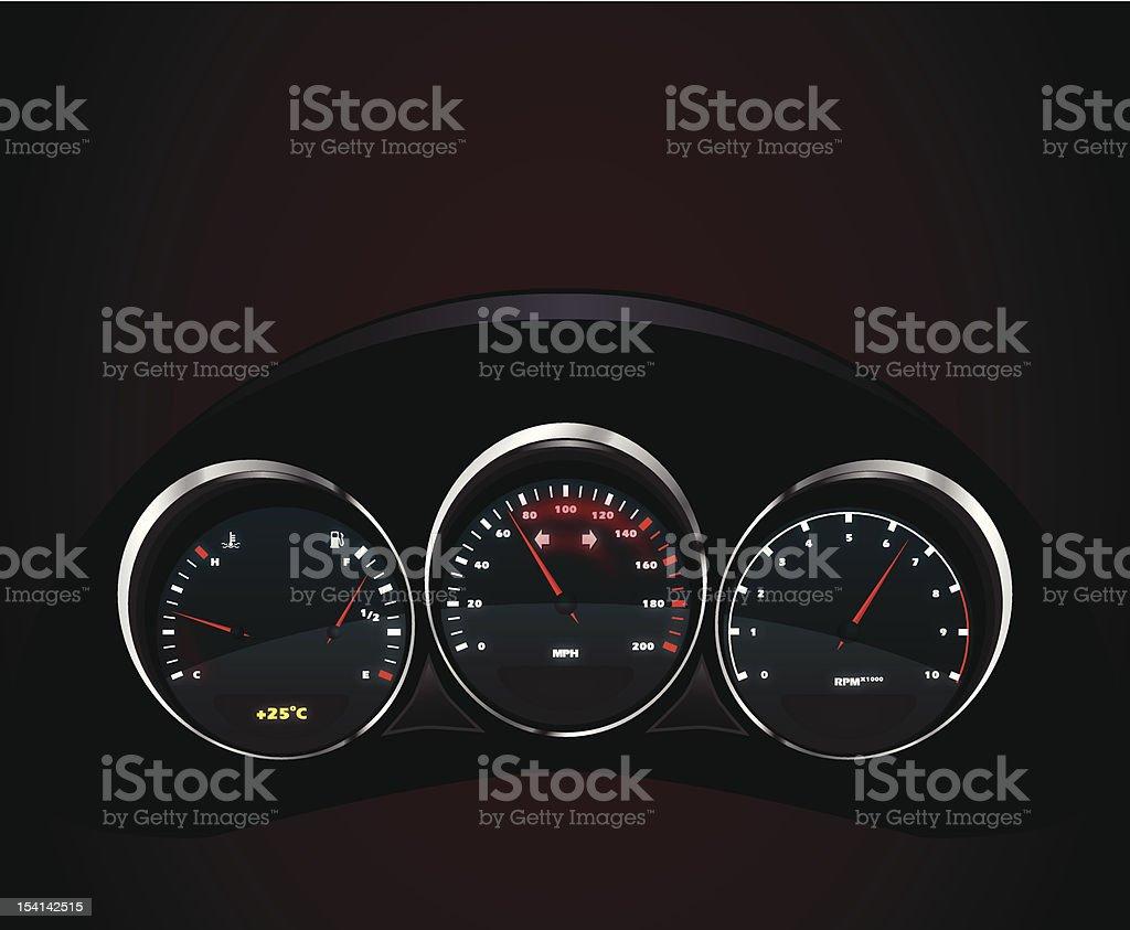 Vector realistic car dashboard royalty-free stock vector art