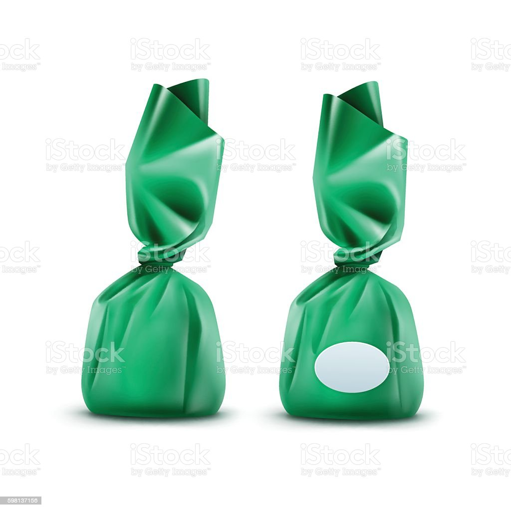 Vector Realistic Chocolate Candy in Green Glossy Wrapper on Background vector art illustration