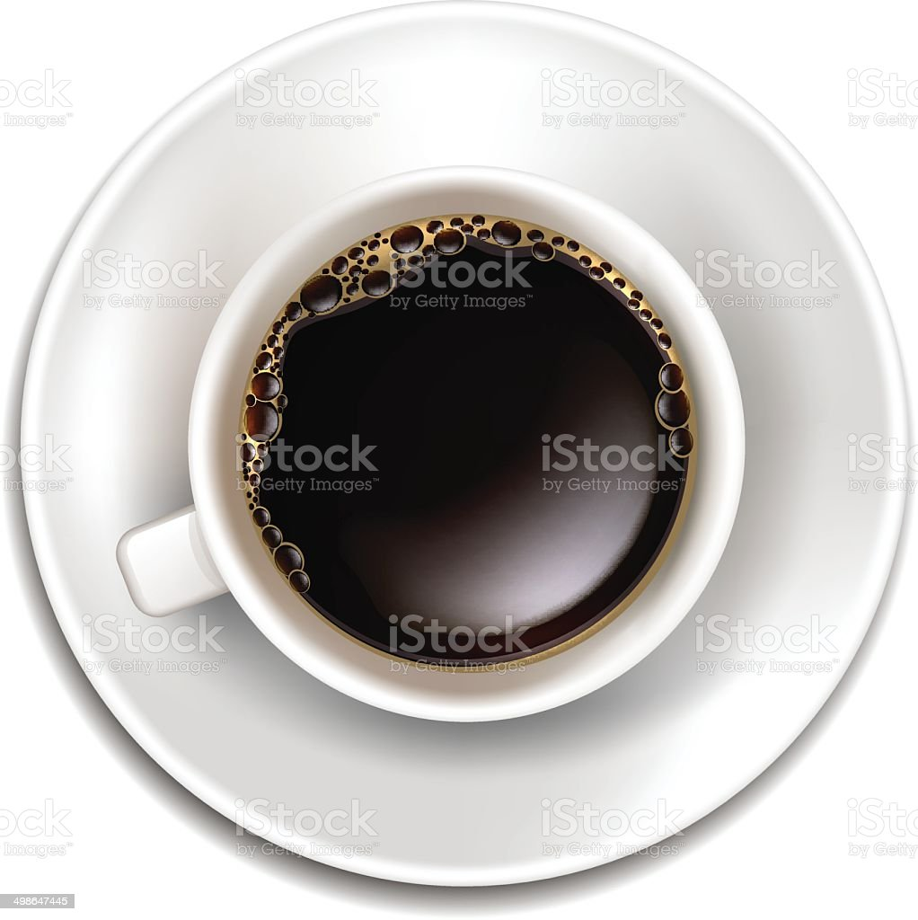 Vector Realistic Cup of Coffee Top View royalty-free stock vector art