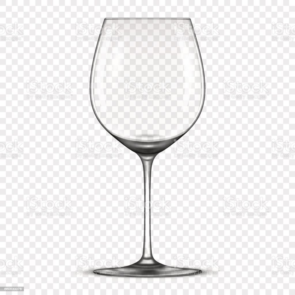 vector realistic empty wine glass icon isolated on