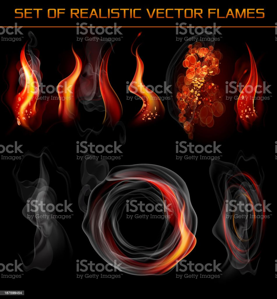 Vector realistic flames and smoke vector art illustration