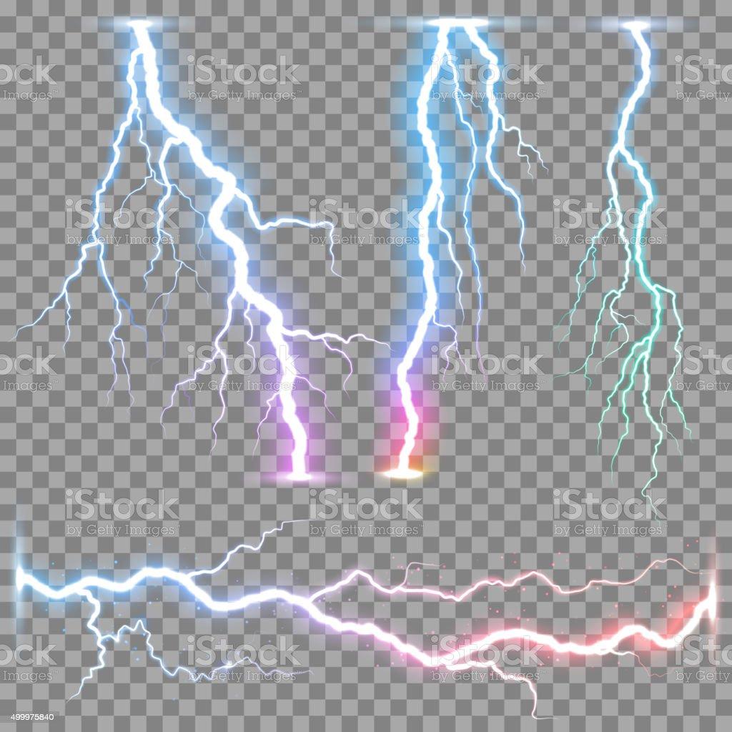 Vector realistic lightnings thunderbolt vector art illustration