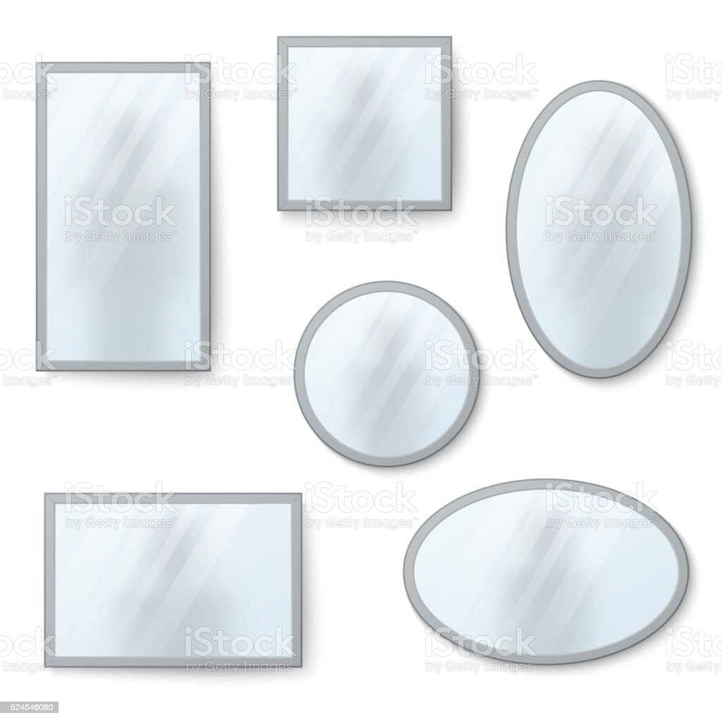 Vector realistic mirrors set with blurry reflection vector art illustration