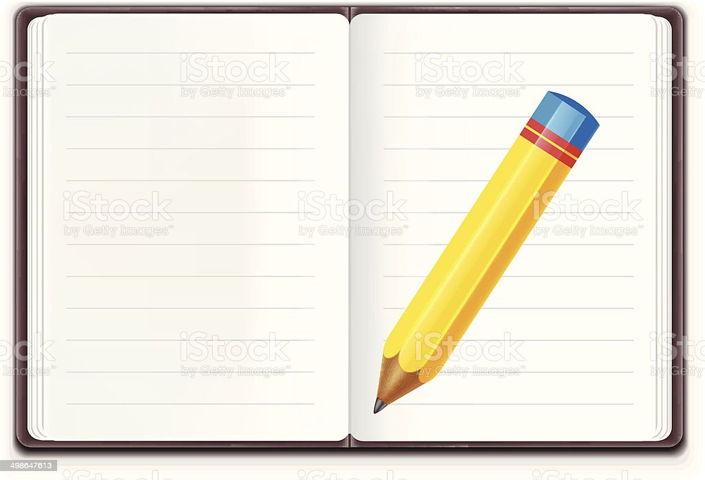 Vector Realistic Open Notebook with Pencil royalty-free stock vector art