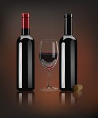 Vector realistic red wine bottles, wine cork and glass.