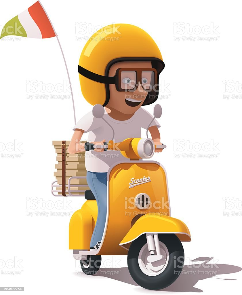 Vector realistic retro pizza delivery scooter and courier driver icon vector art illustration