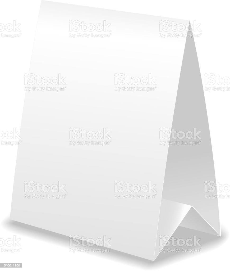 Vector realistic table paper card with shadow vector art illustration
