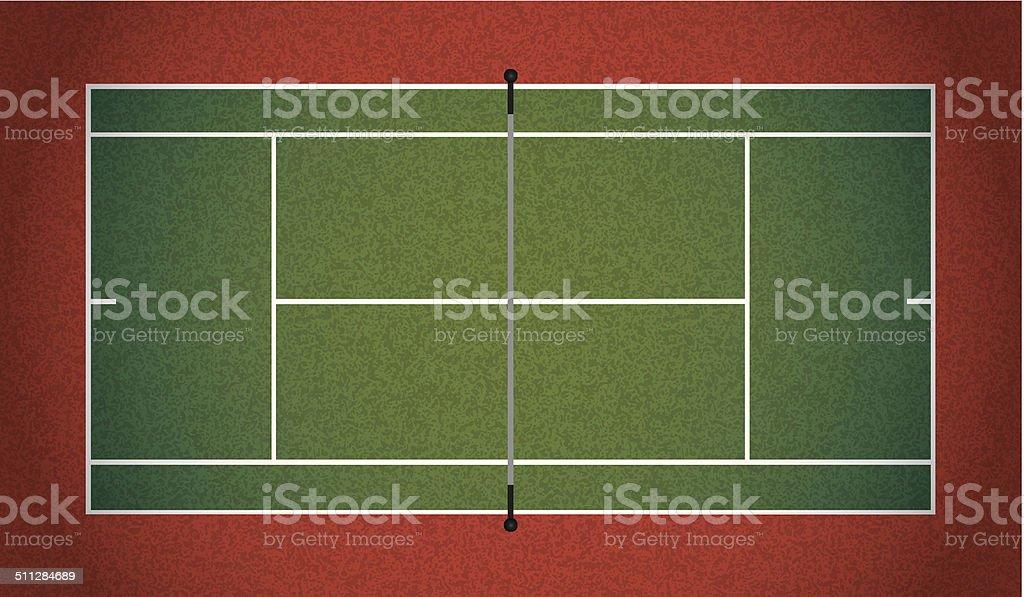 Vector Realistic Textured Tennis Court Illustration vector art illustration