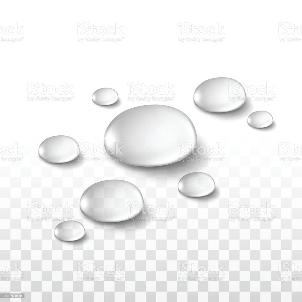 Vector Realistic Water Drops Set Isolated on Transparent vector art illustration