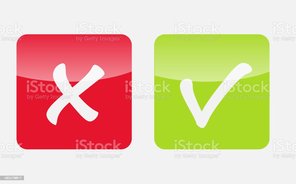 Vector red and green check mark icons isolated on white royalty-free stock vector art