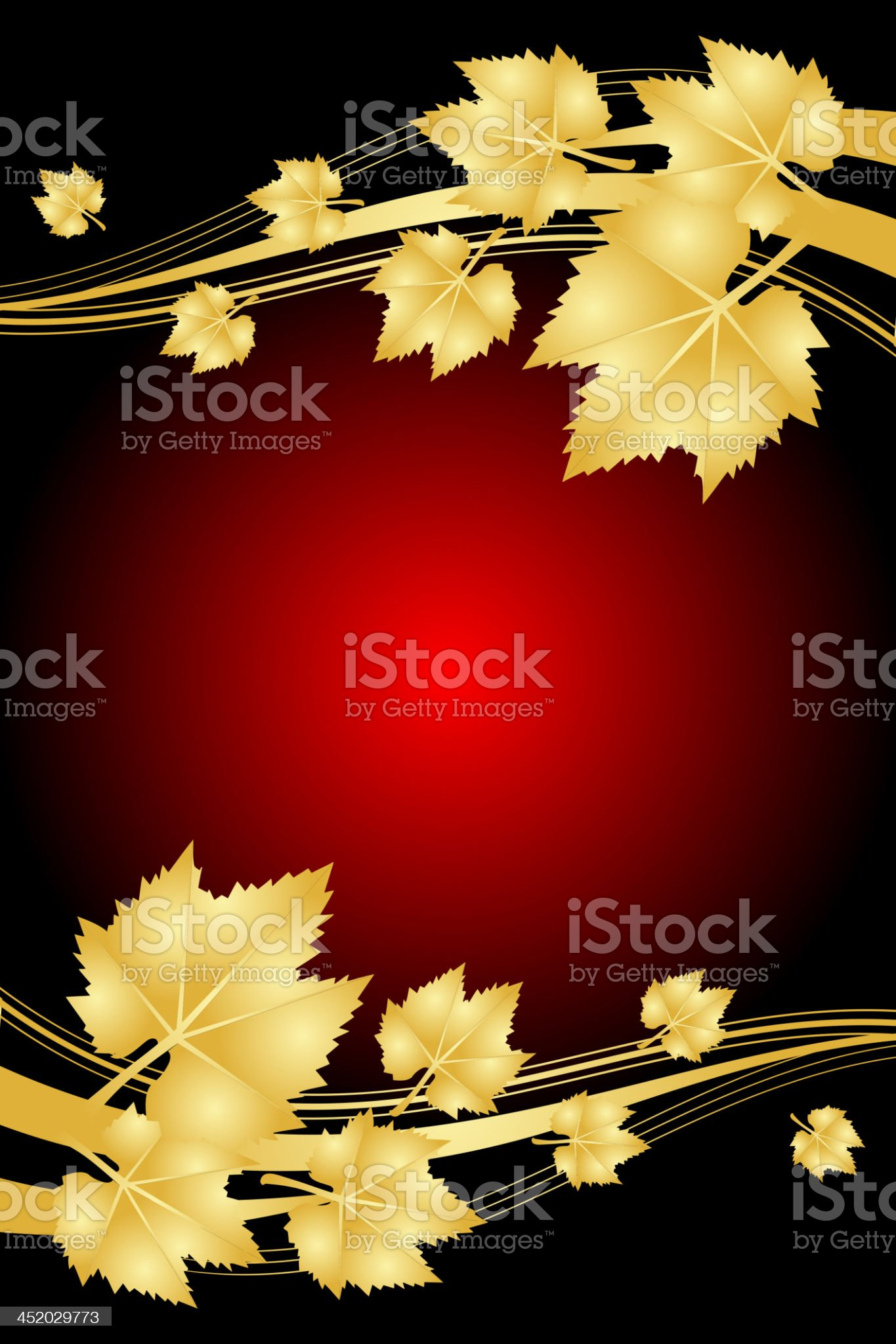 Vector red background with gold leaves royalty-free stock vector art