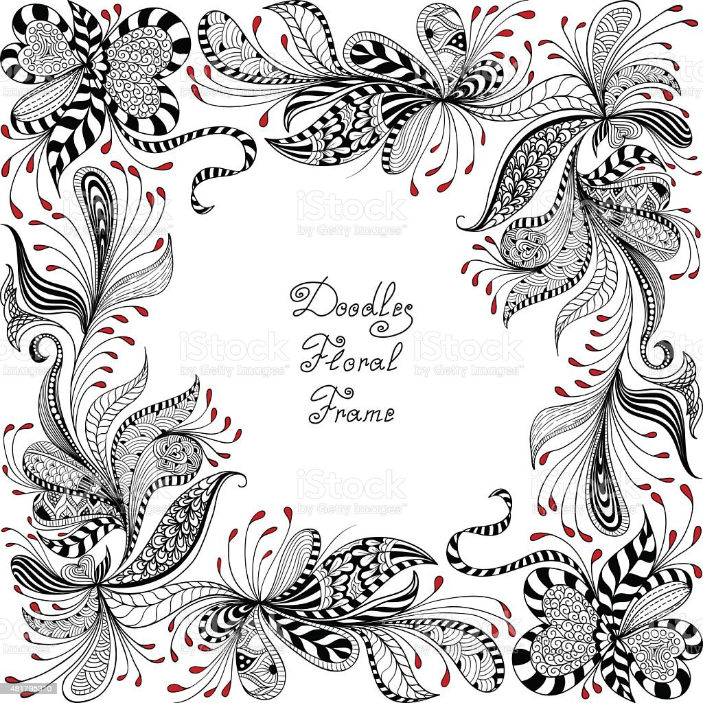 vector red, black and white floral pattern vector art illustration