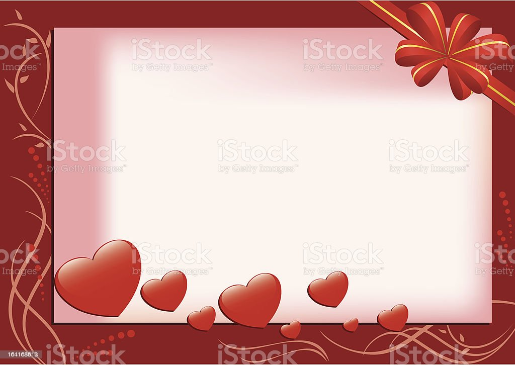 vector red card with hearts and flora royalty-free stock vector art