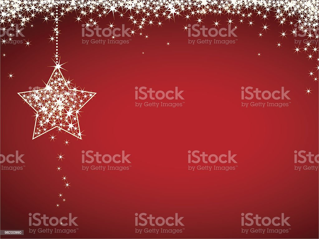 Vector red Christmas greeting card with white stars royalty-free stock vector art