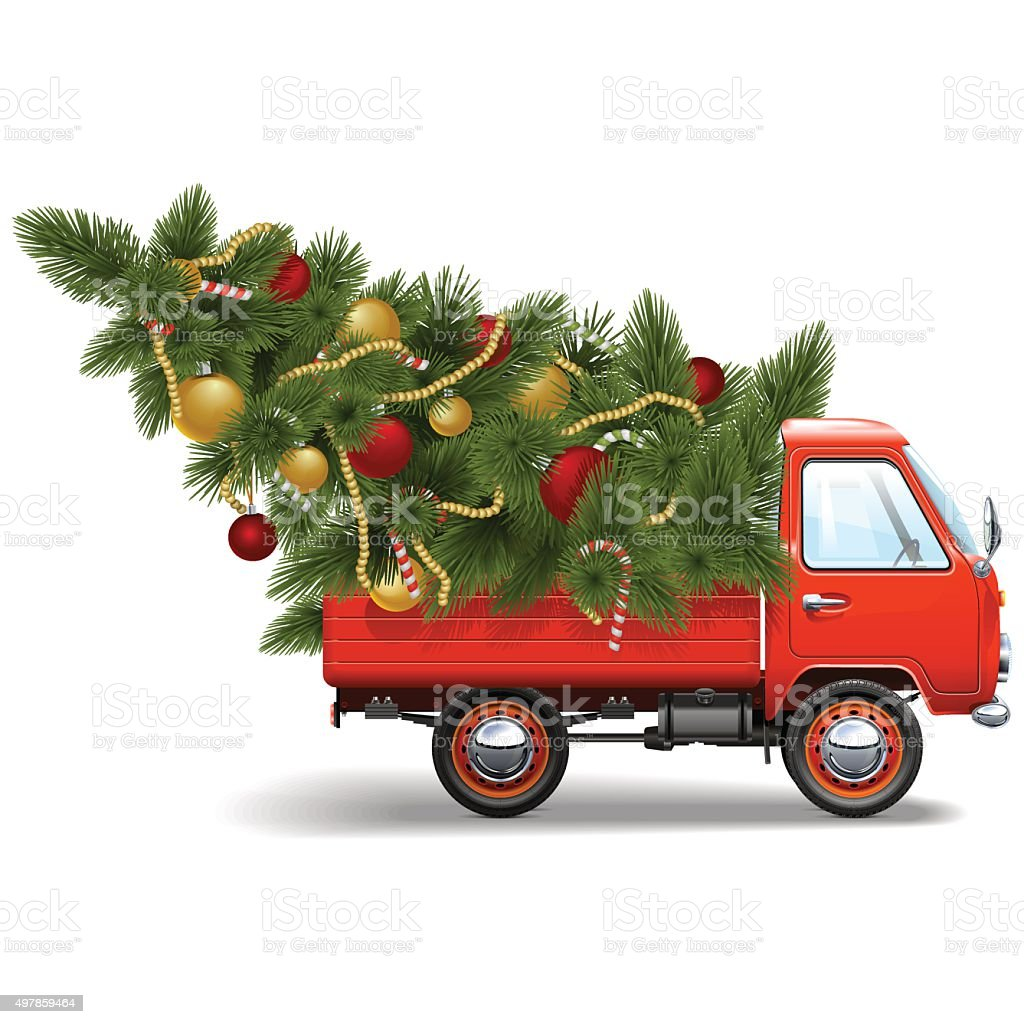Vector Red Christmas Truck vector art illustration