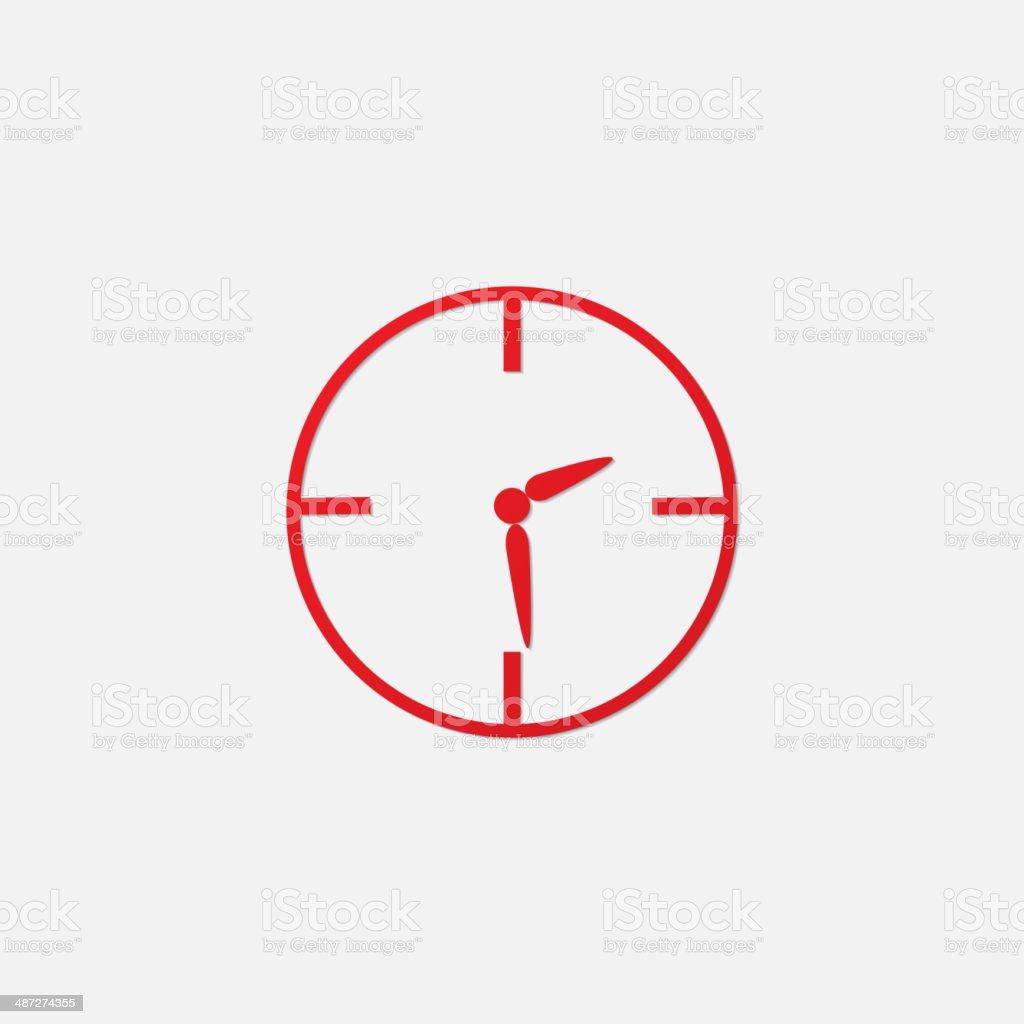 Vector red clock icon vector art illustration