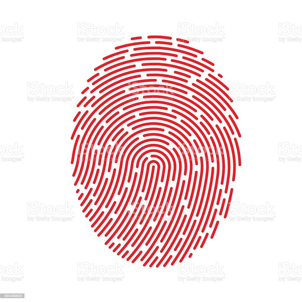 Vector Red Fingerprint vector art illustration