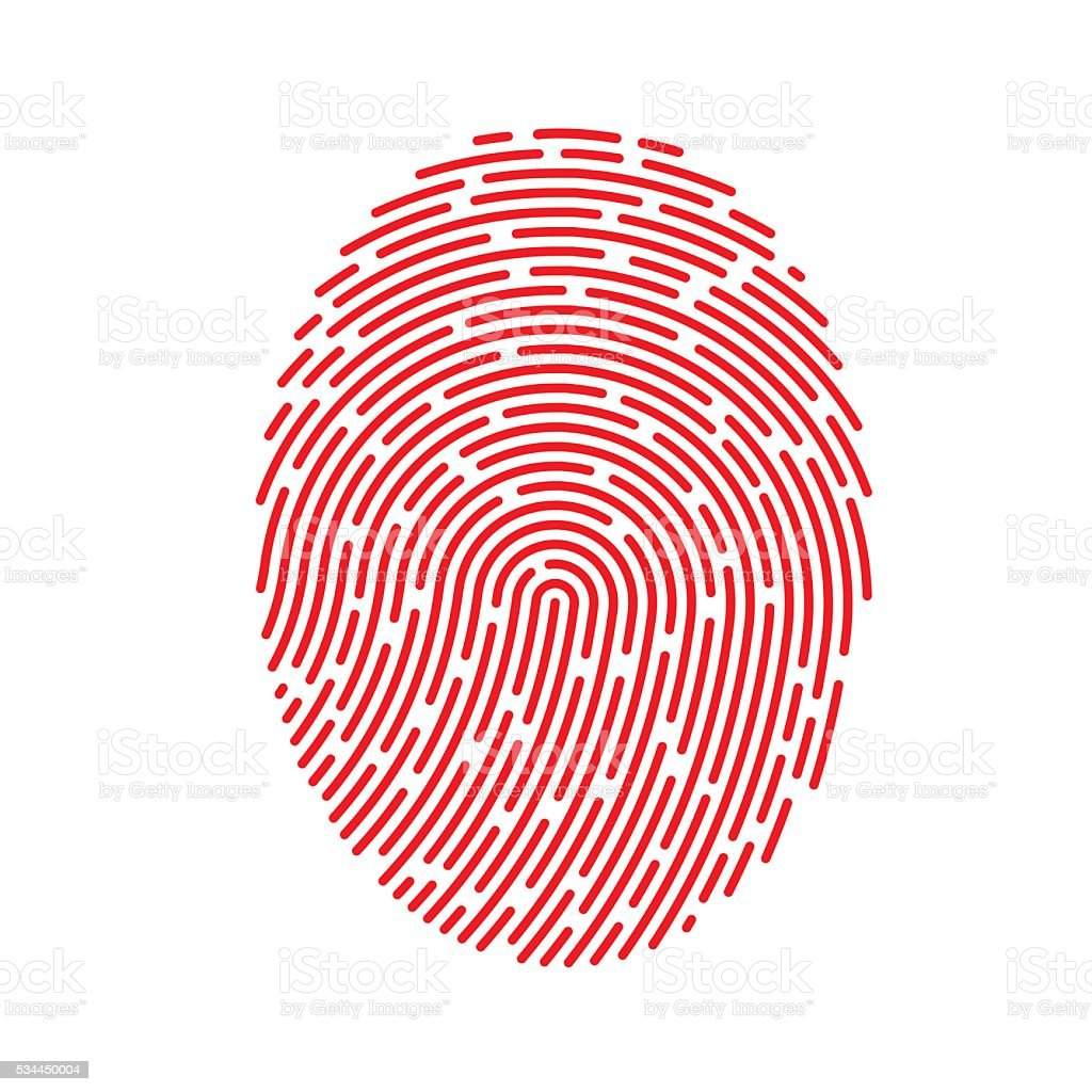 Vector Red Fingerprint vector art illustration