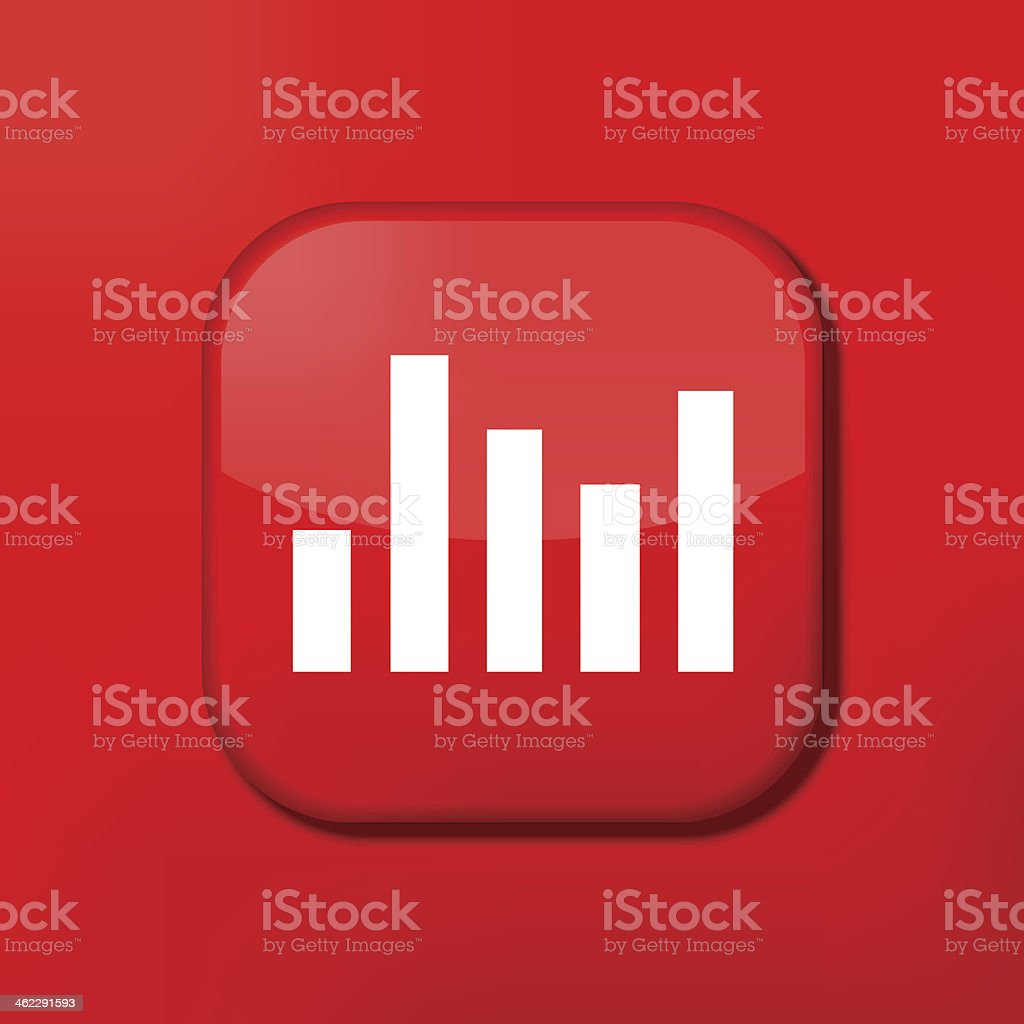 Vector red graph icon. Eps10. Easy to edit vector art illustration