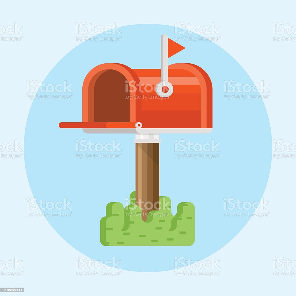 Vector red mailbox icon vector art illustration