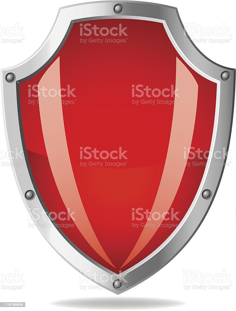 Vector red metallic shield on white background royalty-free stock vector art