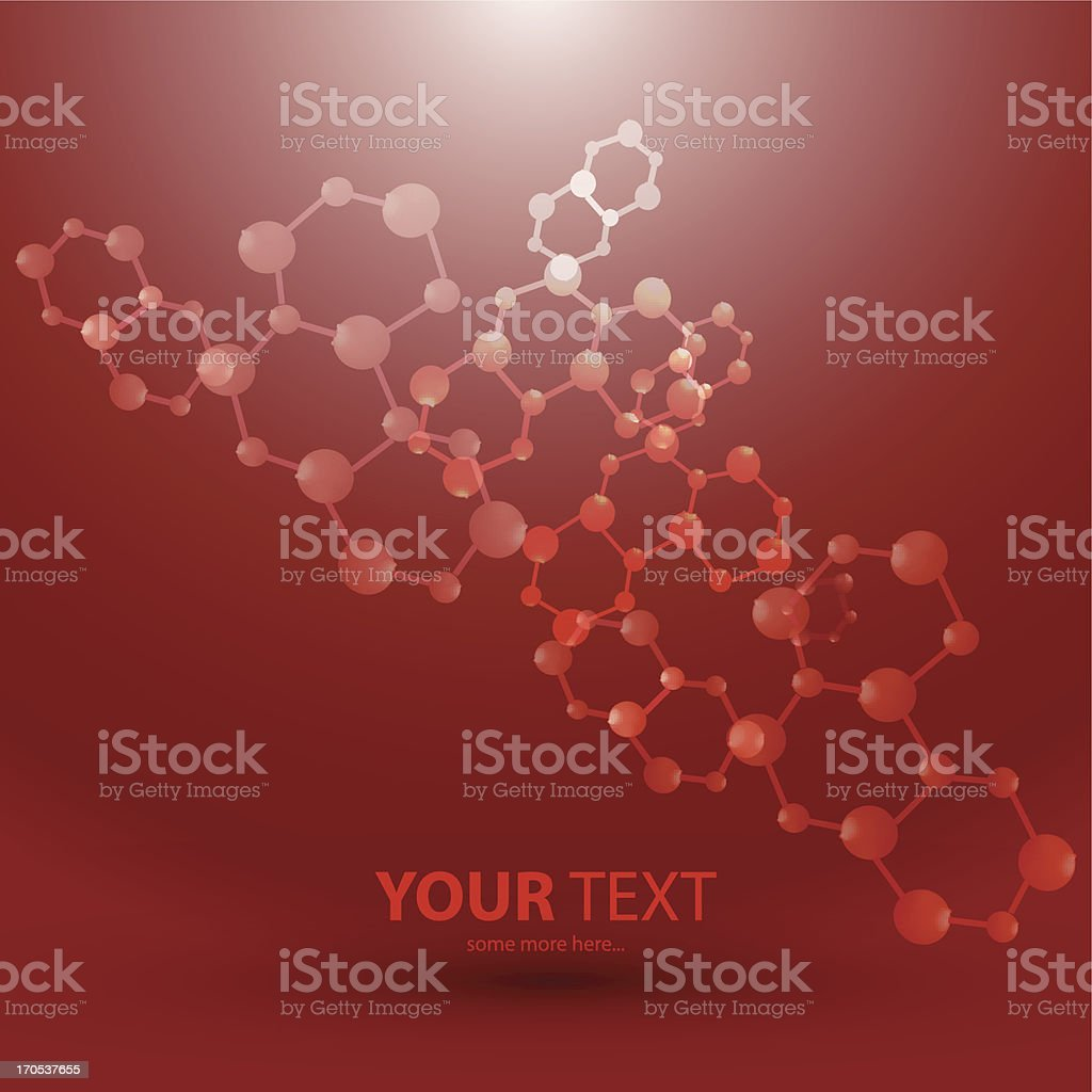Vector red molecules background royalty-free stock vector art