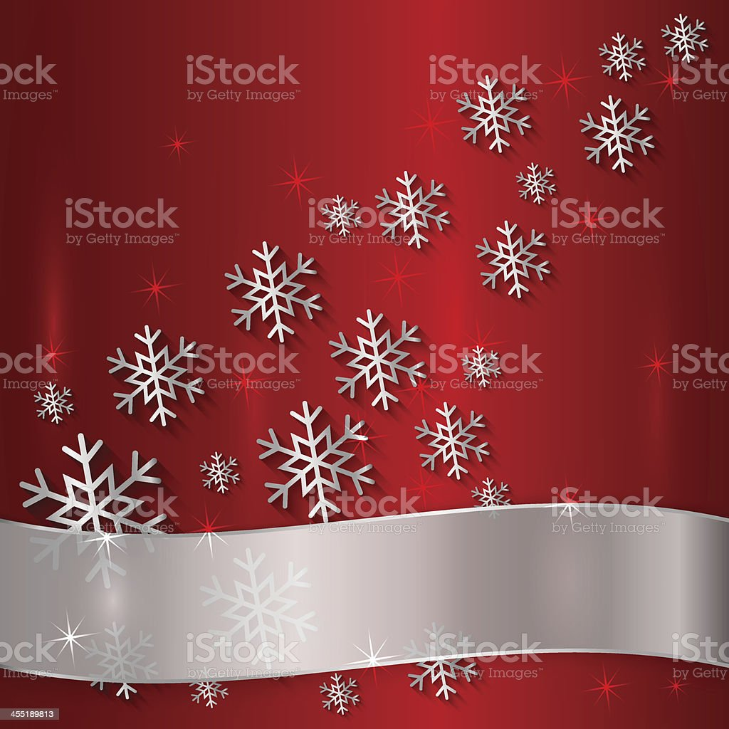 Vector Red Plate with Snowflakes  and White Ribbon royalty-free stock vector art