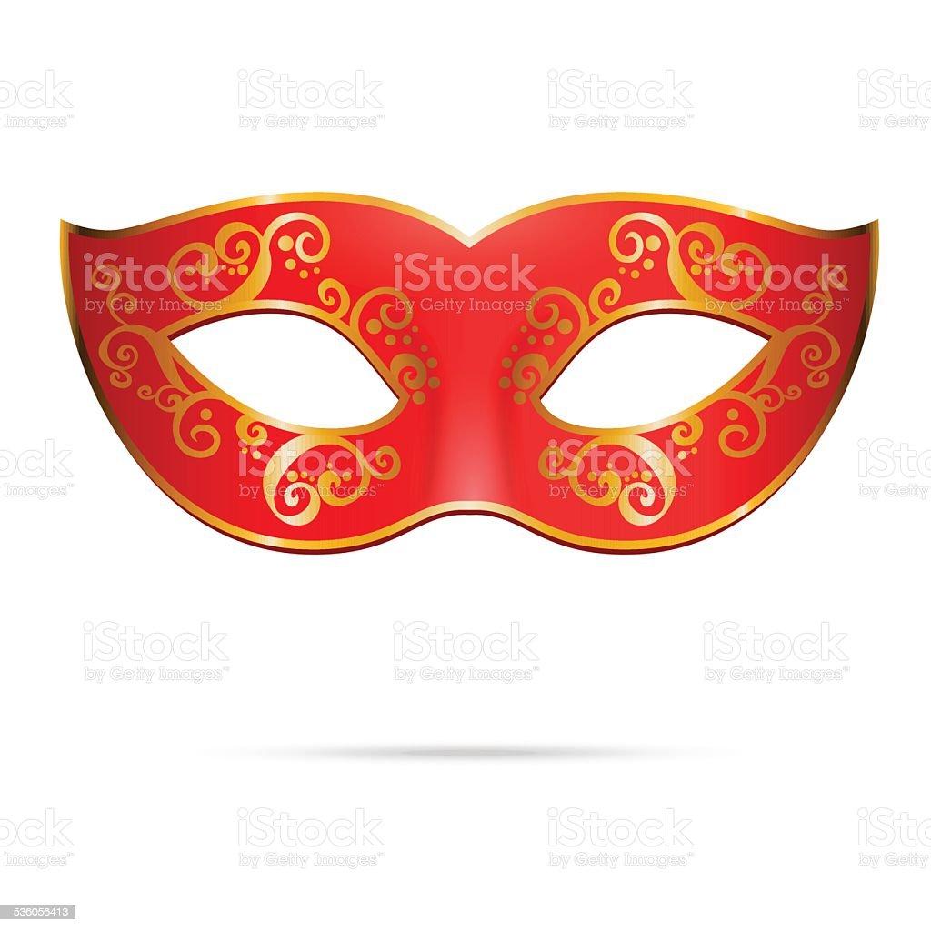 Vector red venetian carnival mardi gras party mask vector art illustration
