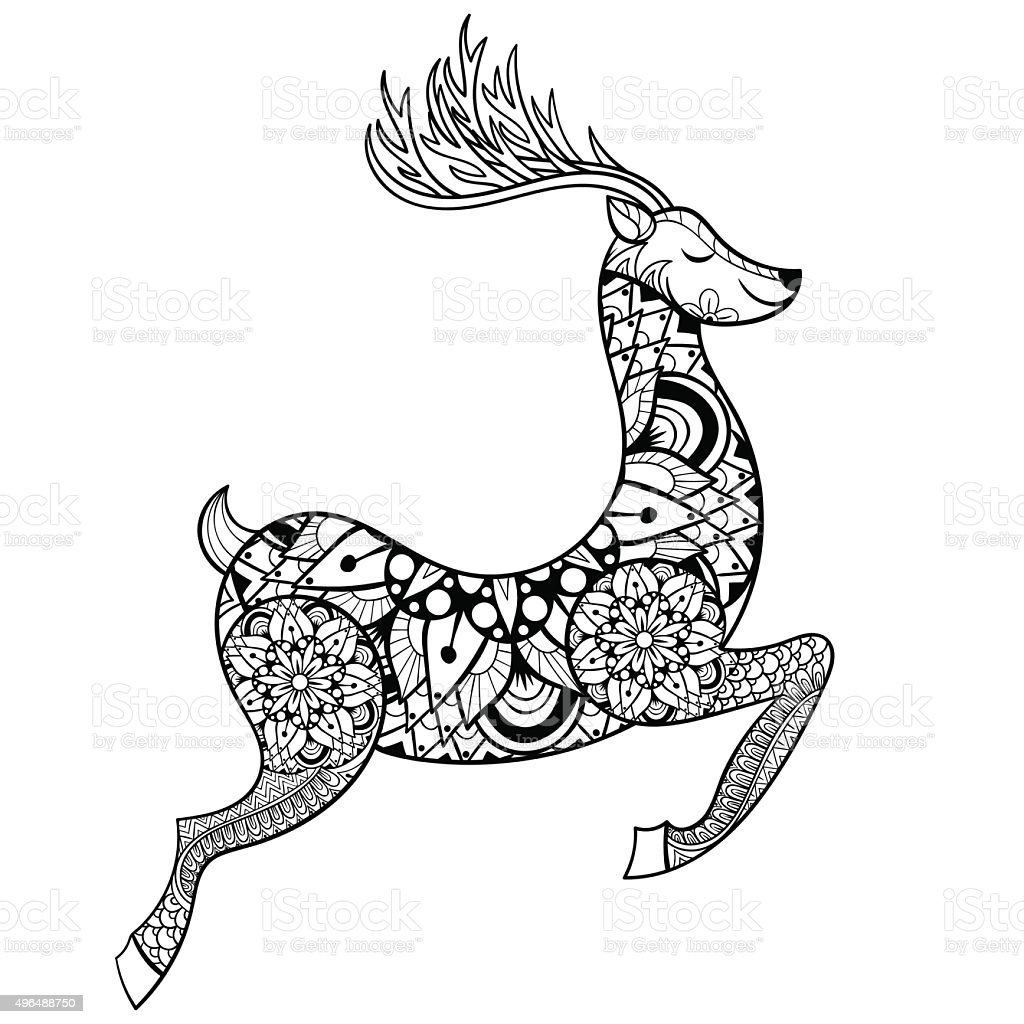 Coloring Pages Vector - Vector reindeer for adult anti stress coloring pages royalty free stock vector art