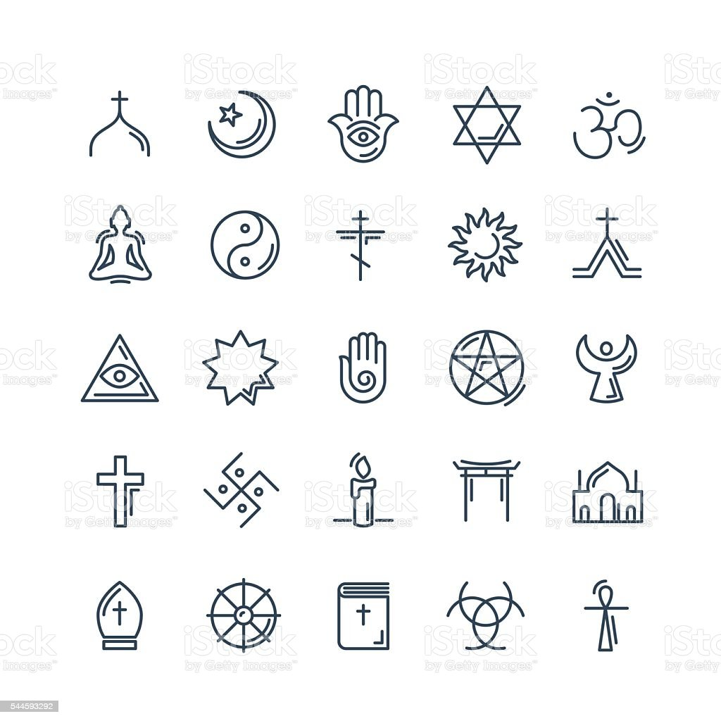Vector religion icons set thin style vector art illustration