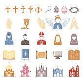Vector religion icons set