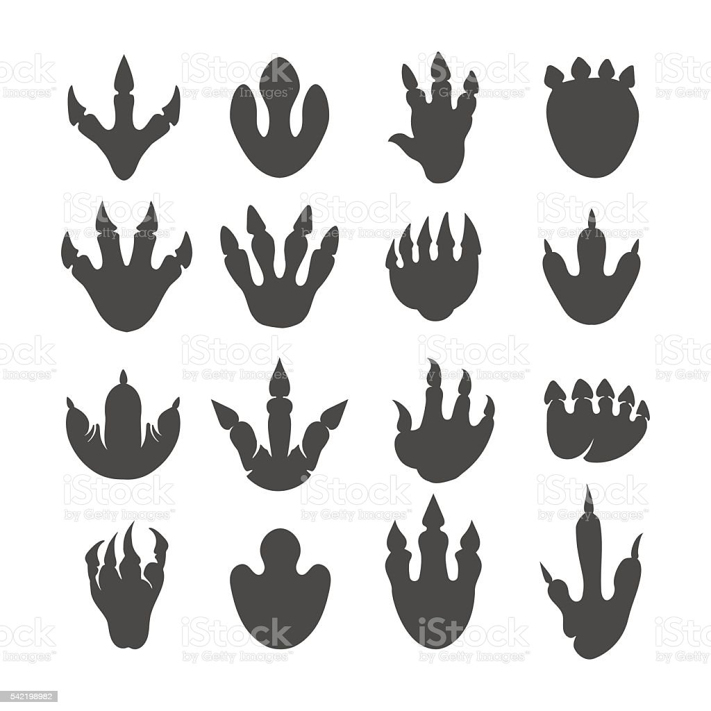 Vector reptile footprints or dinosaur tracks vector art illustration