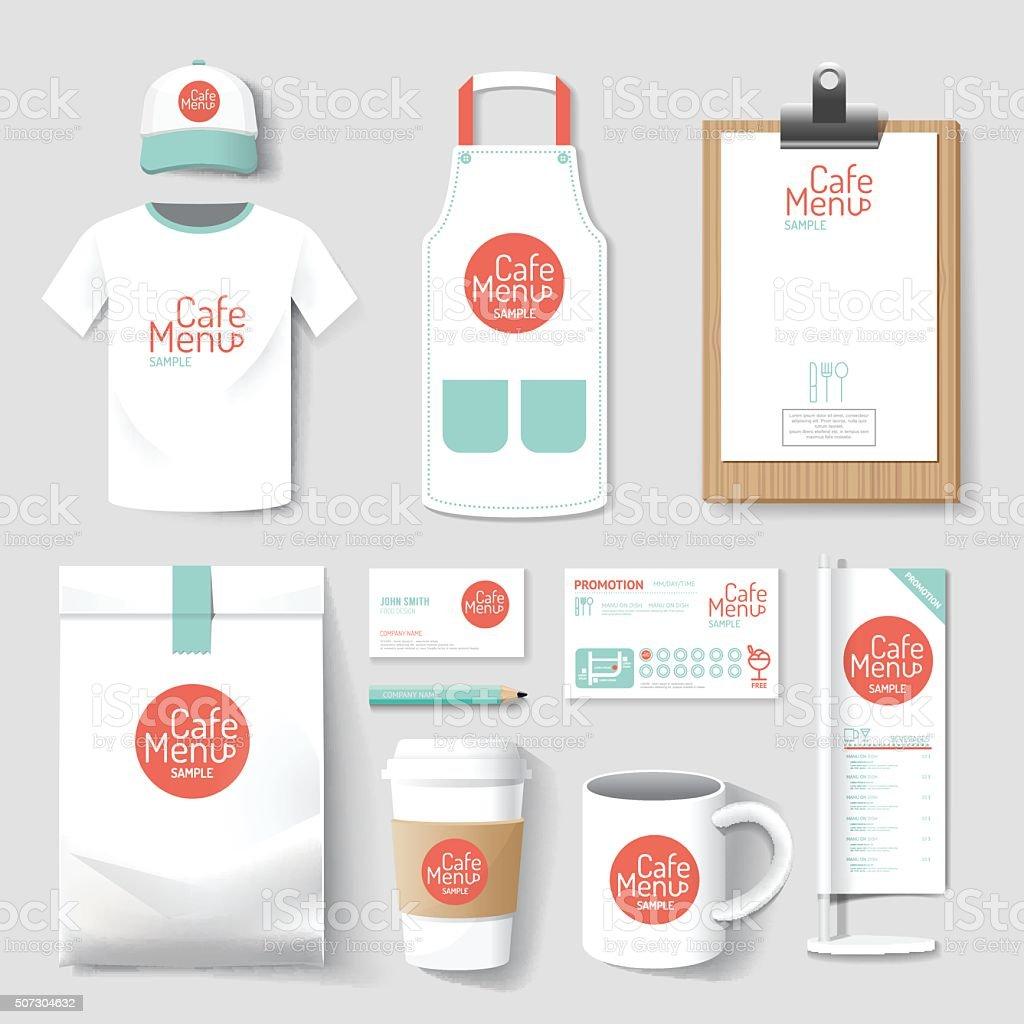 Vector restaurant cafe set flyermenu package t-shirt cap uniform design vector art illustration