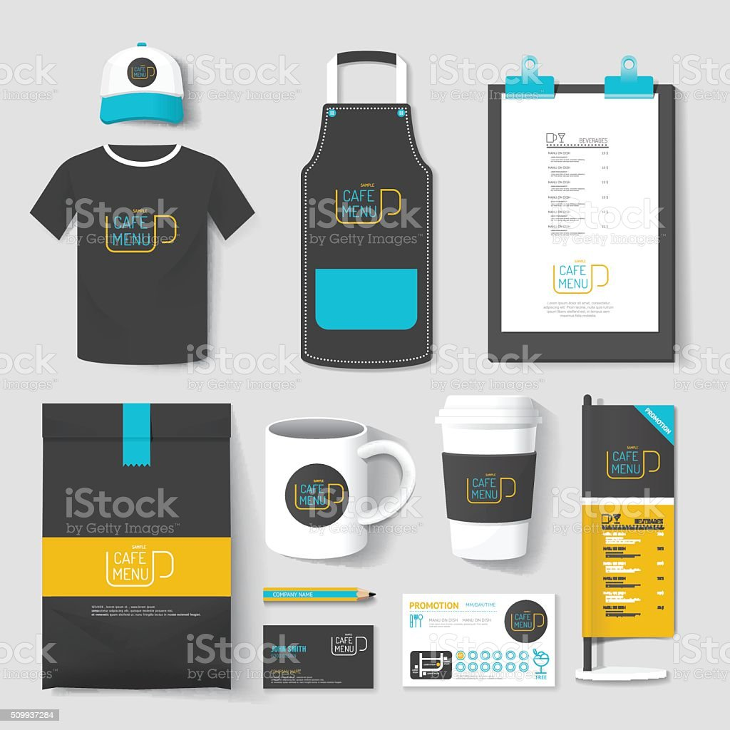 Shirt uniform design vector - Vector Restaurant Cafe Set Flyermenu Package T Shirt Cap Uniform Design