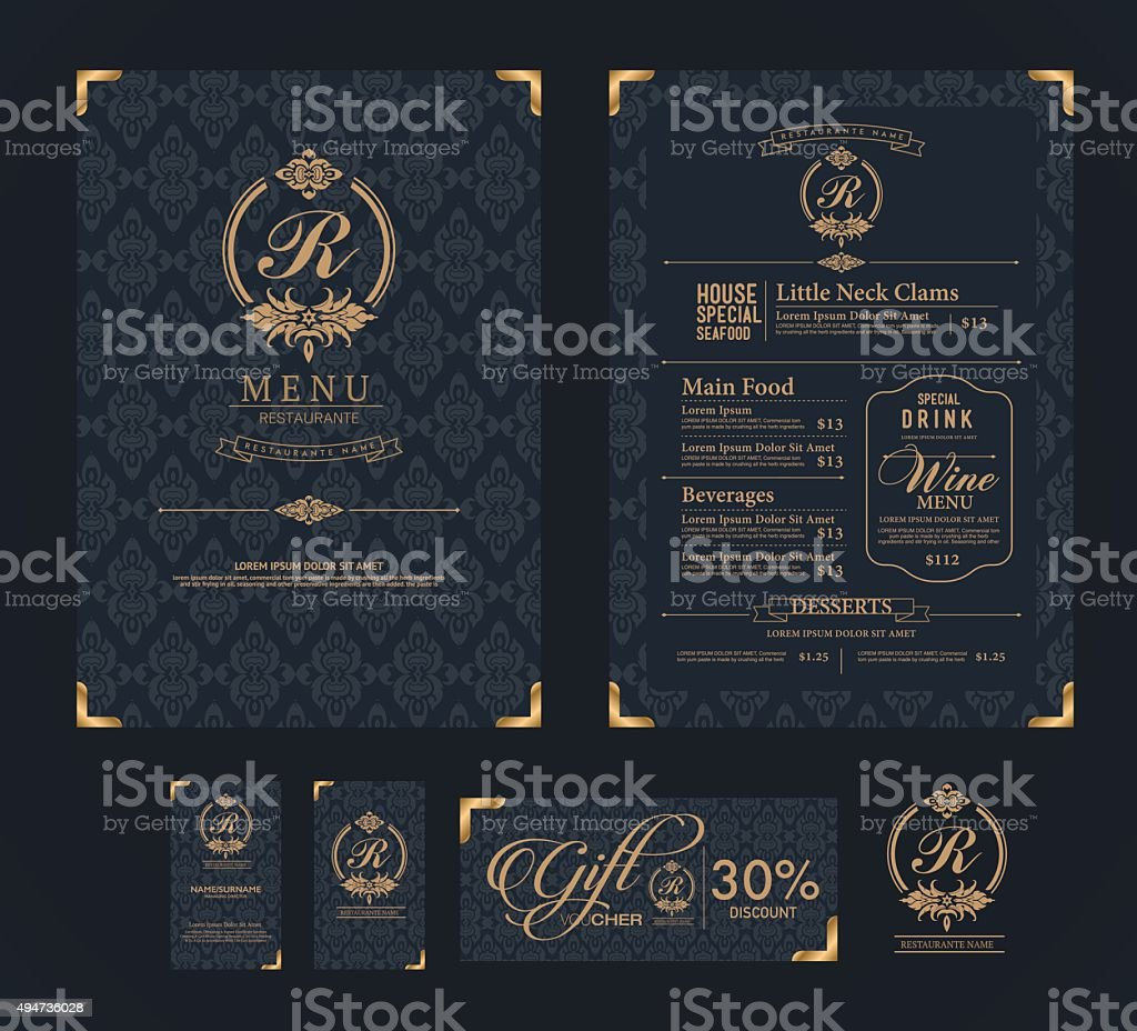 vector restaurant menu template. vector art illustration