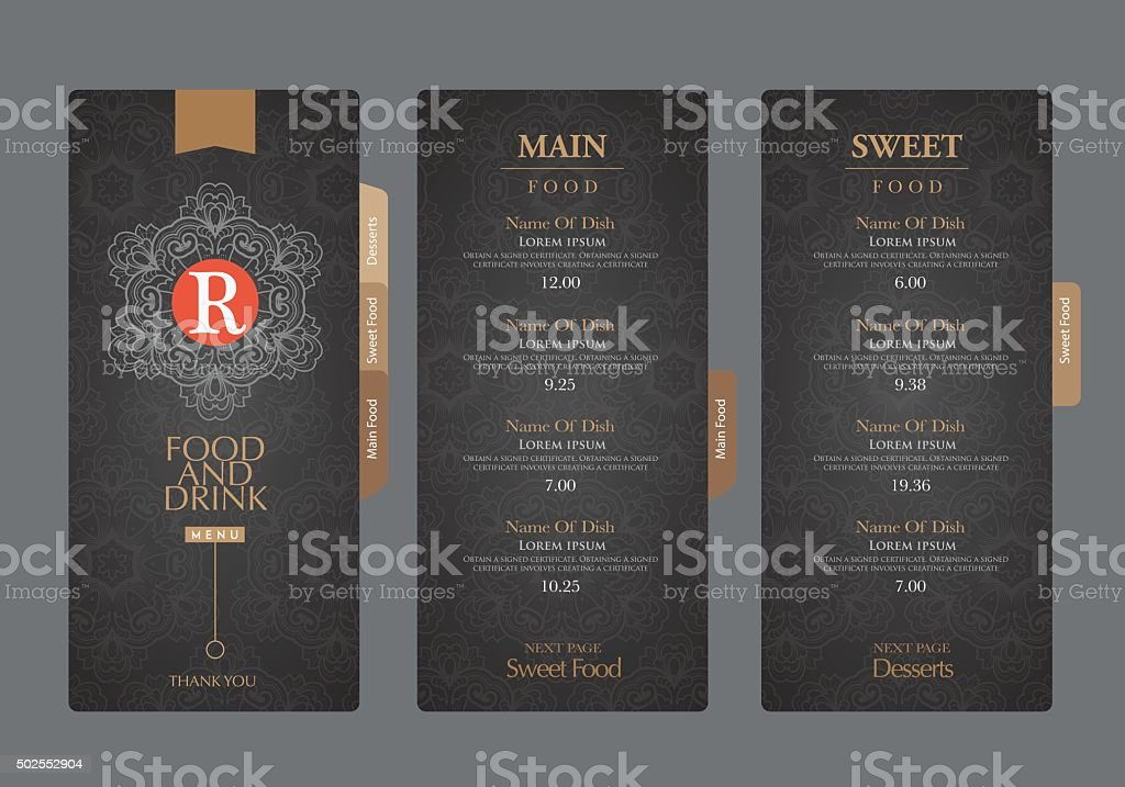 vector restaurant menu template.. vector art illustration