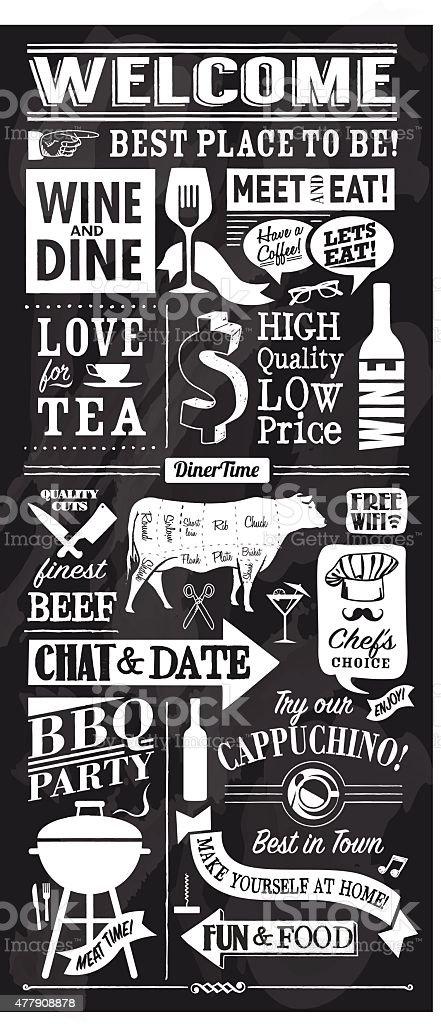 vector restaurant or bar chalkboard design vector art illustration