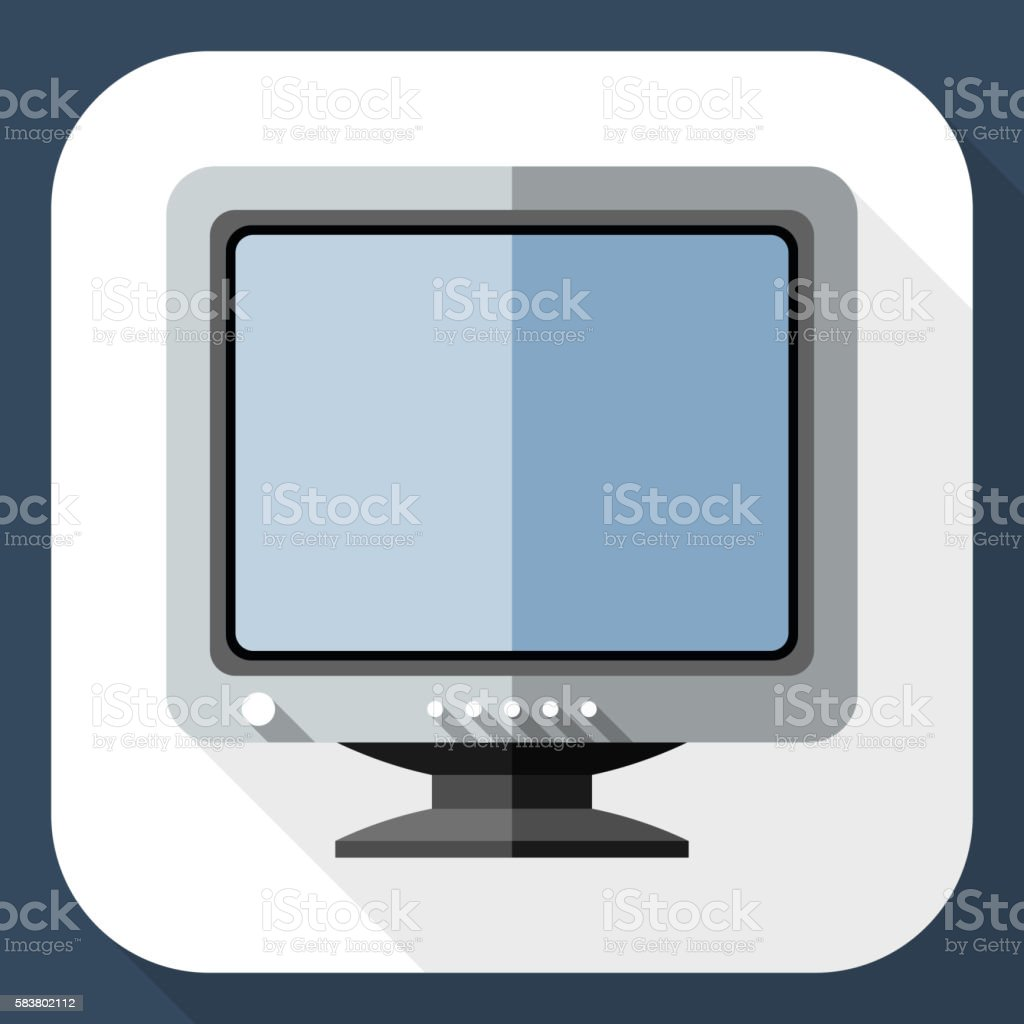 Vector Retro Computer Monitor icon. vector art illustration