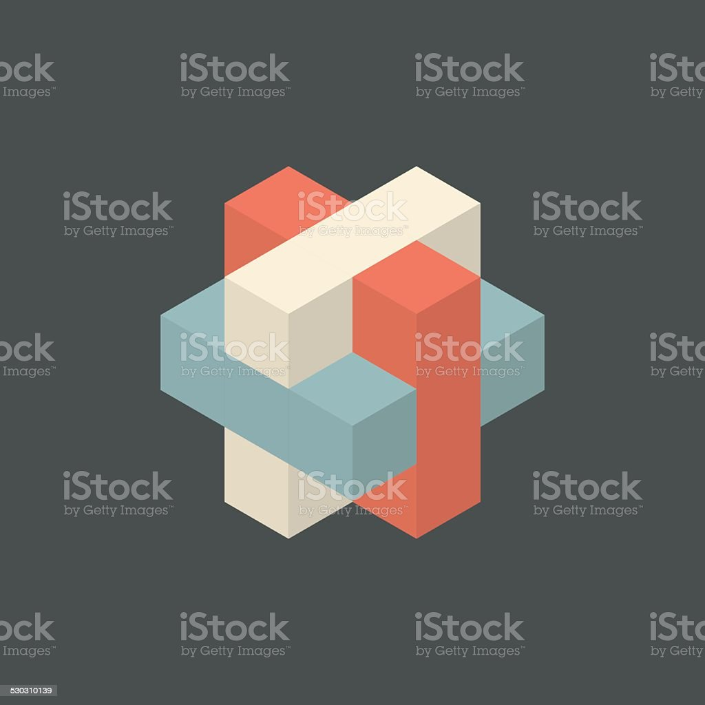 Vector Retro Cube Illustration vector art illustration