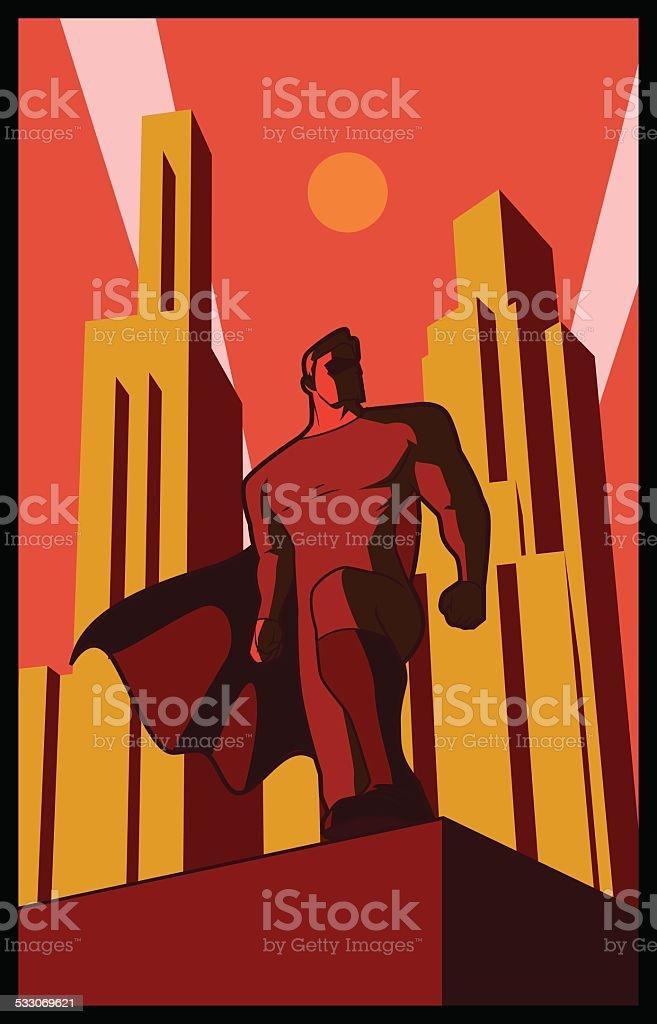 Vector Retro Epic Pose Superhero vector art illustration