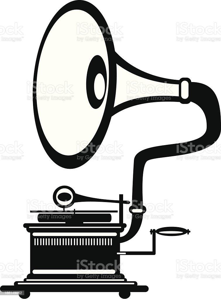 vector retro gramophone on white background royalty-free stock vector art