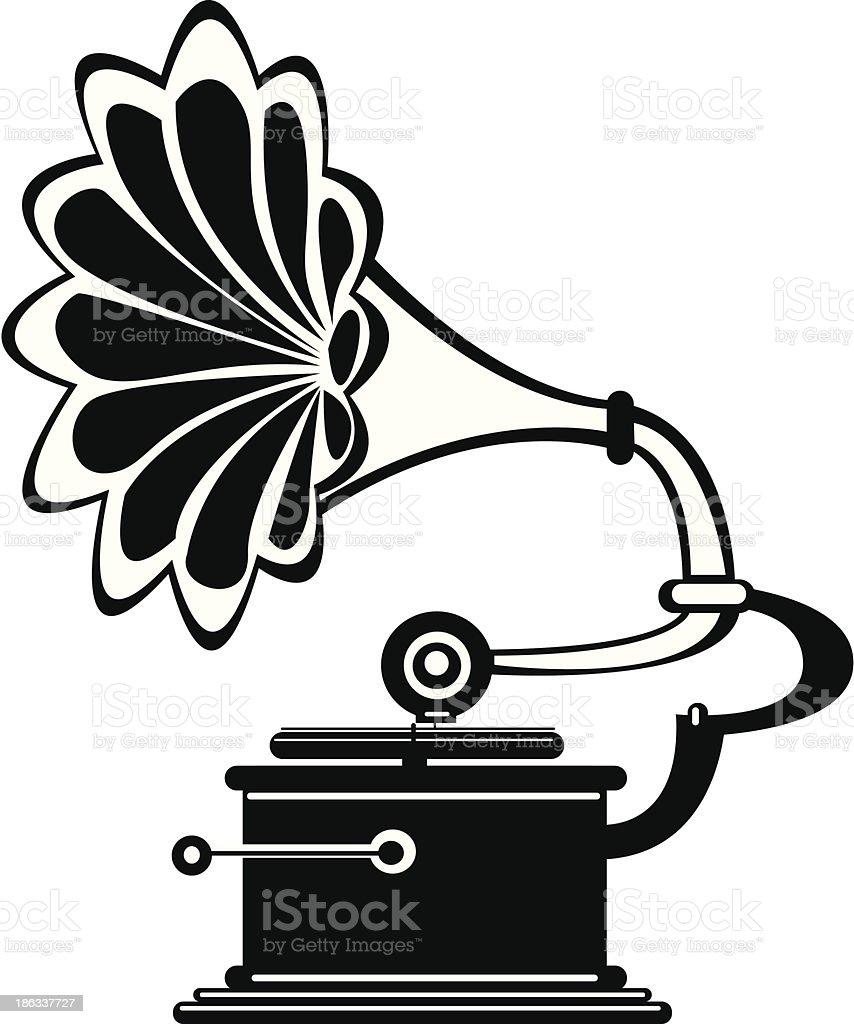 vector retro gramophone on white background vector art illustration