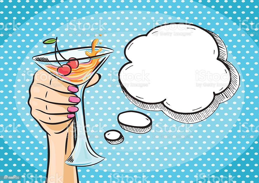 Vector retro hand holding glass of cocktail with speech bubble vector art illustration