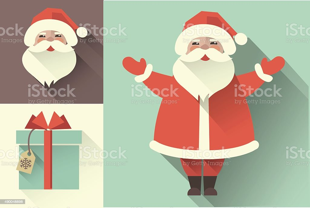 Vector retro Santa Claus. Flat collection vector art illustration