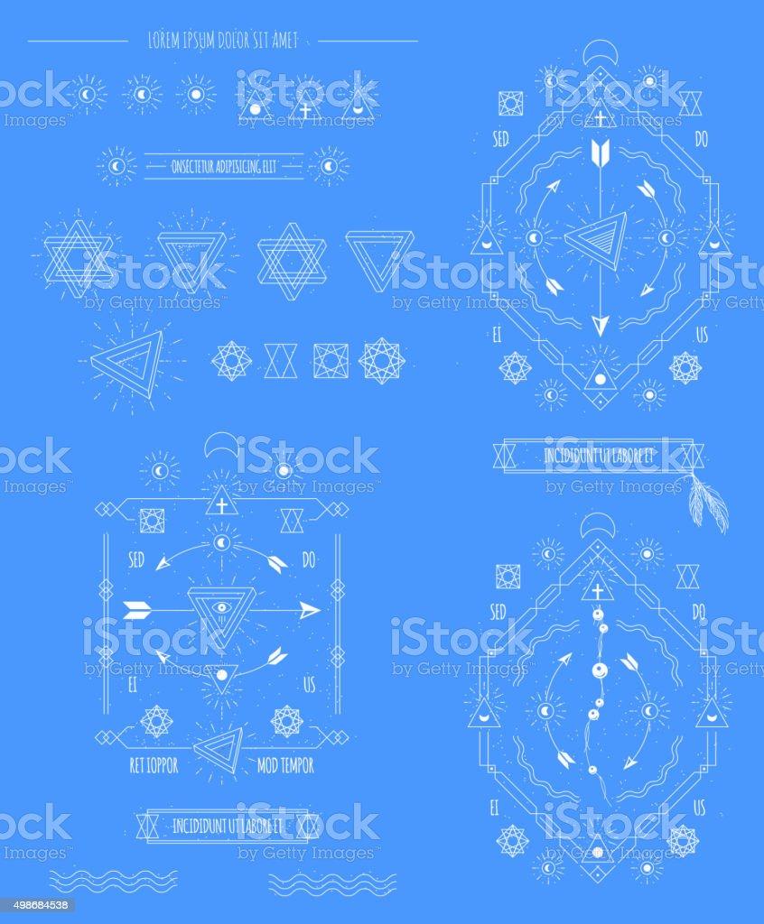 vector retro sign. dotwork tattoo vector art illustration