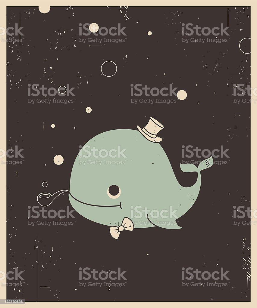 Vector Retro-style illustration of whale vector art illustration