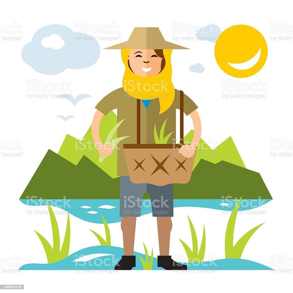 Vector Rice Field Woman. Flat style colorful Cartoon illustration. vector art illustration